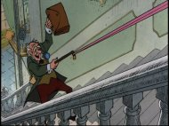 Hautecourt sling-shots himself up the stairs using the butler's suspenders